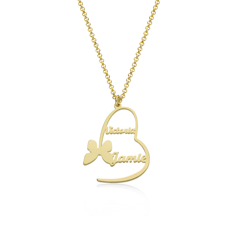 Custom 18k Gold Plated Heart Letter Name Necklace Heart Necklace With Butterfly - Birthday Gifts