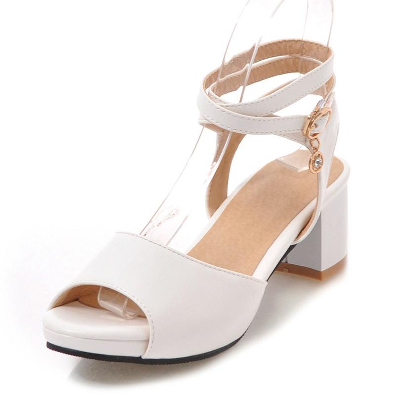 Женщины PU Устойчивый каблук Сандалии На каблуках Открытый мыс с Шнуровка обувь