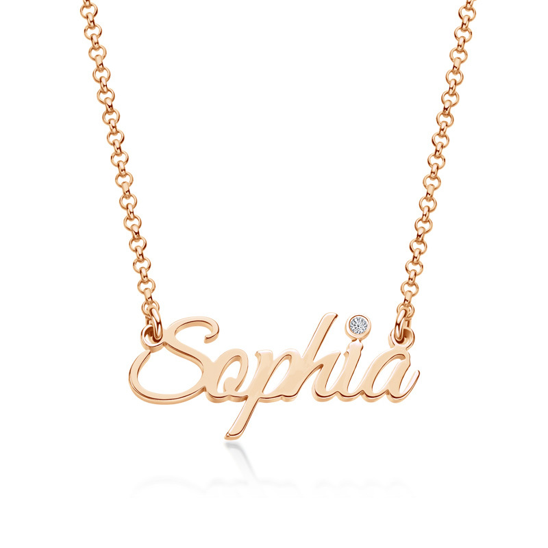 Custom 18k Rose Gold Plated Letter Name Necklace With Birthstone - Birthday Gifts