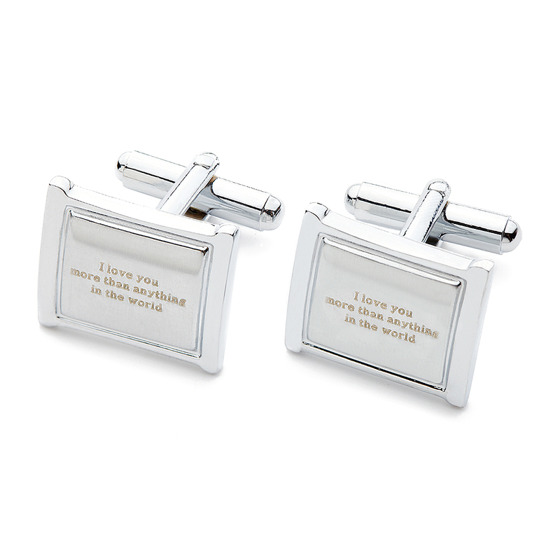 Personalized Rectangular Stainless Steel Cufflinks (Set of 2)