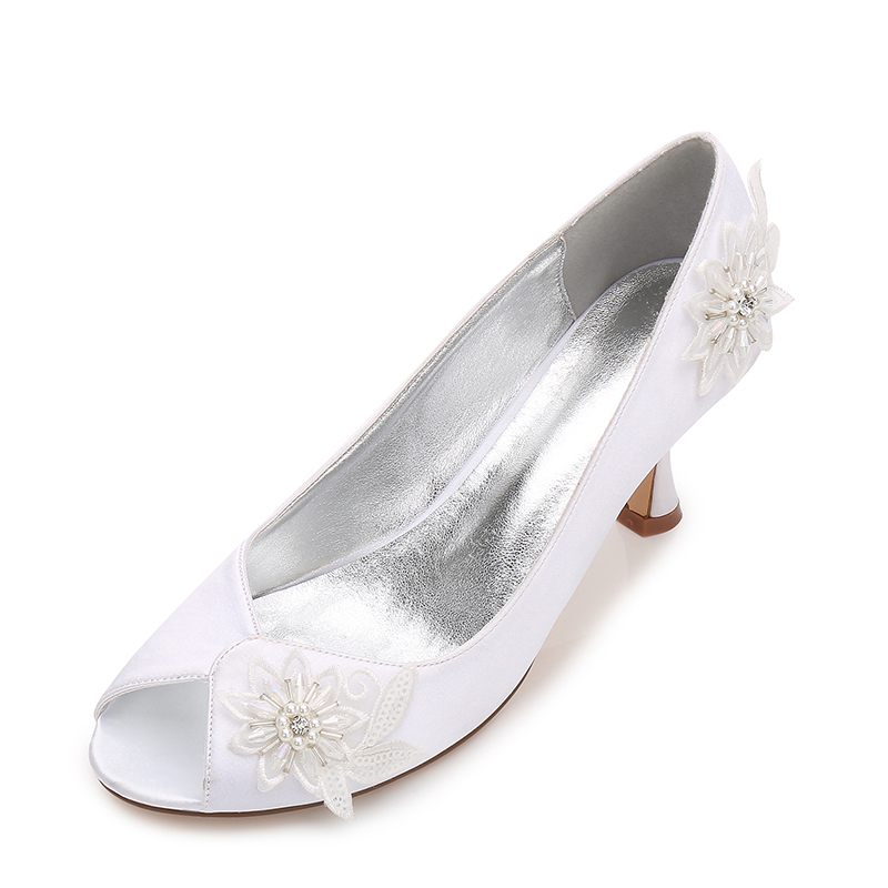 Women's Silk Like Satin Stiletto Heel Peep Toe Pumps With Imitation Pearl Flower