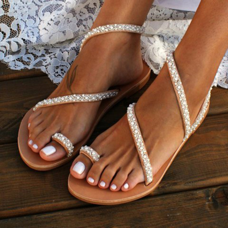 PU Flat Heel Sandals Flats Peep Toe With Imitation Pearl shoes