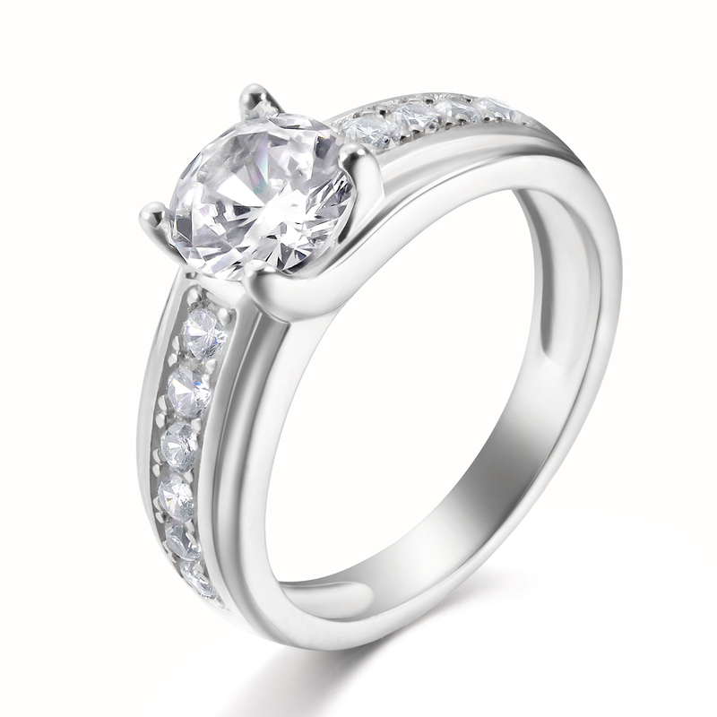 Side Stones Round Cut 925 Silver Engagement Rings