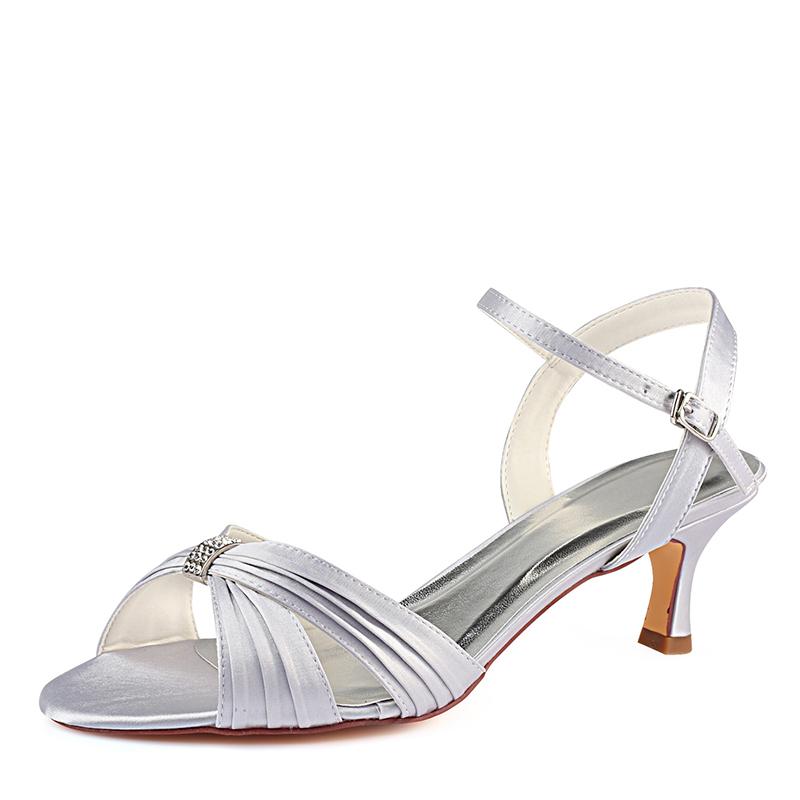 Women's Silk Like Satin Stiletto Heel Sandals With Ruffles Crystal