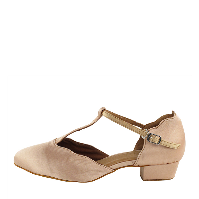 Satin Heels Ballroom With T-Strap Dance Shoes