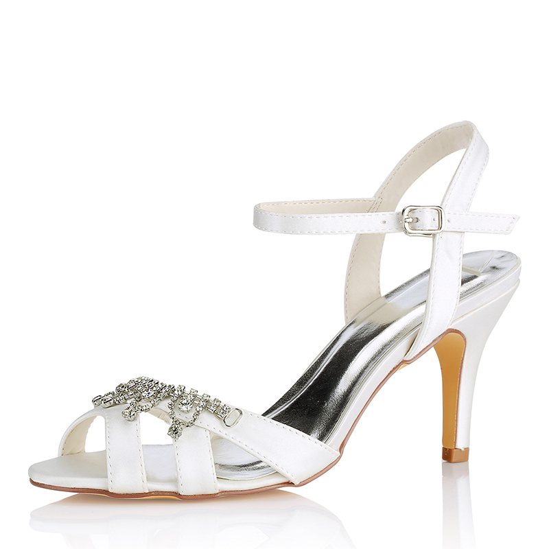 Women's Silk Like Satin Stiletto Heel Peep Toe Pumps Sandals With Others
