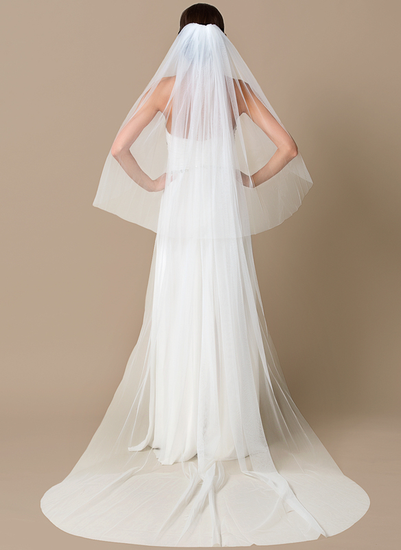 Two-tier Chapel Bridal Veils With Cut Edge