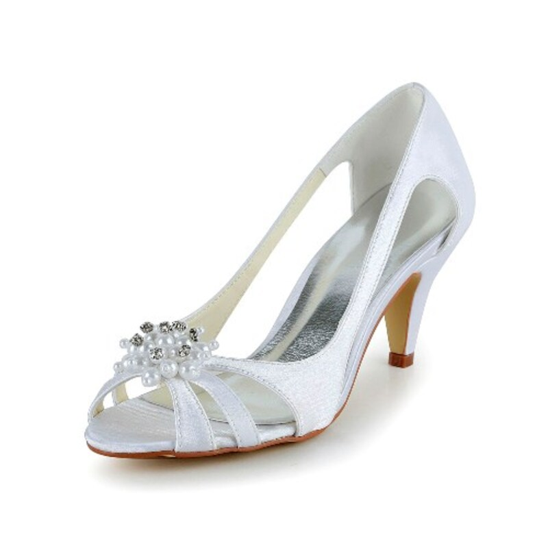 Women's Satin Cone Heel Peep Toe Sandals With Imitation Pearl