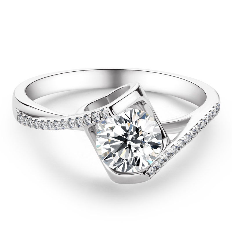 Bypass Round Cut 925 Silver Engagement Rings