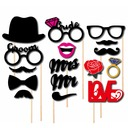 "Photo Booth Props Paper (16 Pieces) ""Mr. & Mrs.""/""LOVE"" Photo Booth Props Wedding Decorations"