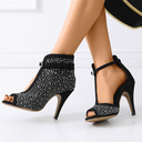 Women's Suede Boots Latin Belly Ballroom With Rhinestone Dance Shoes