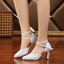 Women's Sparkling Glitter Heels Sandals Ballroom Swing With Hollow-out Dance Shoes