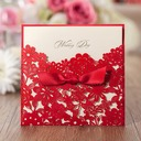 Personalized Classic Style/Modern Style Wrap & Pocket Invitation Cards With Ribbons (Set of 50)