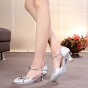 Women's Sparkling Glitter Heels Pumps Ballroom With T-Strap Dance Shoes