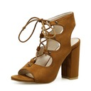 Women's Suede Chunky Heel Pumps Boots Peep Toe Slingbacks Ankle Boots With Lace-up shoes