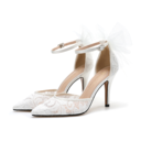 Women's Lace Low Heel Closed Toe With Stitching Lace Hollow-out