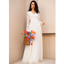 A-Line V-neck Floor-Length Chiffon Wedding Dress With Lace (002254066)