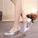 Women's Sparkling Glitter Heels Pumps Ballroom With Ankle Strap Dance Shoes