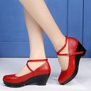 Women's Real Leather Pumps Character Shoes With Ankle Strap Dance Shoes