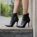 Women's PU Stiletto Heel Pumps Boots Mid-Calf Boots With Lace-up shoes