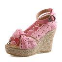 Frauen Stoff Keil Absatz Absatzschuhe Keile mit Schnalle Schuhe