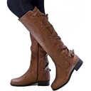 Women's Leatherette Flat Heel Flats Boots Over The Knee Boots With Buckle shoes
