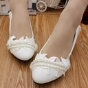 Women's Lace Leatherette Low Heel Closed Toe With Imitation Pearl Rhinestone Applique Chain