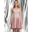 A-Line Square Neckline Short/Mini Stretch Crepe Homecoming Dress With Lace (022236575)