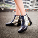 Leatherette Chunky Heel Flats Wedges Slippers With Animal Print Lace-up Jewelry Heel Split Joint shoes