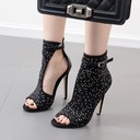 Women's Suede Stiletto Heel Pumps Boots Peep Toe Ankle Boots With Rhinestone shoes