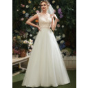 A-Line Illusion Court Train Wedding Dress With Lace Beading Sequins (002254058)