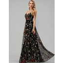 A-Line V-neck Floor-Length Lace Evening Dress With Beading (017229895)