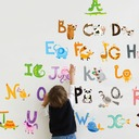 Removable cartoon animal ABC English decorative stickers (Sold in a single piece)