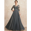 A-Line Scoop Neck Floor-Length Chiffon Lace Evening Dress With Beading Sequins (017255093)