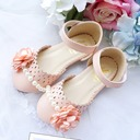 Girl's Closed Toe Leatherette Flat Heel Flats Flower Girl Shoes With Beading Velcro Flower