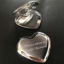 Personalized Heart Shaped Stainless Steel Compact Mirror (Sold in a single piece)