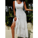 Lace Solid U-Neck Sleeveless Maxi Dresses (293252793)