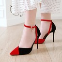Women's Suede Stiletto Heel Pumps Closed Toe Mary Jane With Buckle shoes