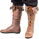 Women's Leatherette Low Heel Flats Knee High Boots With Lace-up shoes