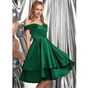 A-Line Off-the-Shoulder Knee-Length Satin Homecoming Dress With Ruffle (022236574)