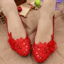 Women's Leatherette Low Heel Closed Toe Pumps With Rhinestone Stitching Lace Flower Lace-up