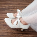 Women's Lace Satin Spool Heel Closed Toe Pumps With Bowknot