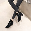 Women's Suede Chunky Heel Pumps Boots Ankle Boots With Zipper Lace-up shoes
