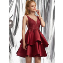 A-Line V-neck Short/Mini Satin Homecoming Dress With Beading Sequins (022236559)