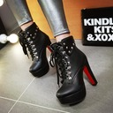 Women's PU Chunky Heel Pumps Platform Boots With Rivet Lace-up shoes