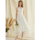 A-Line Scoop Neck Asymmetrical Chiffon Lace Wedding Dress (002234888)
