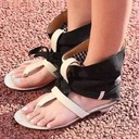 Women's Leatherette Cloth Low Heel Sandals Peep Toe With Bowknot shoes