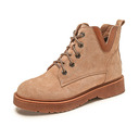 Women's Suede Low Heel Boots Martin Boots With Lace-up shoes