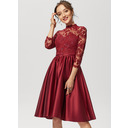 A-Line High Neck Knee-Length Satin Lace Cocktail Dress With Beading Sequins (016230208)