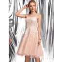 A-Line Square Neckline Knee-Length Tulle Homecoming Dress With Beading Sequins (022236590)
